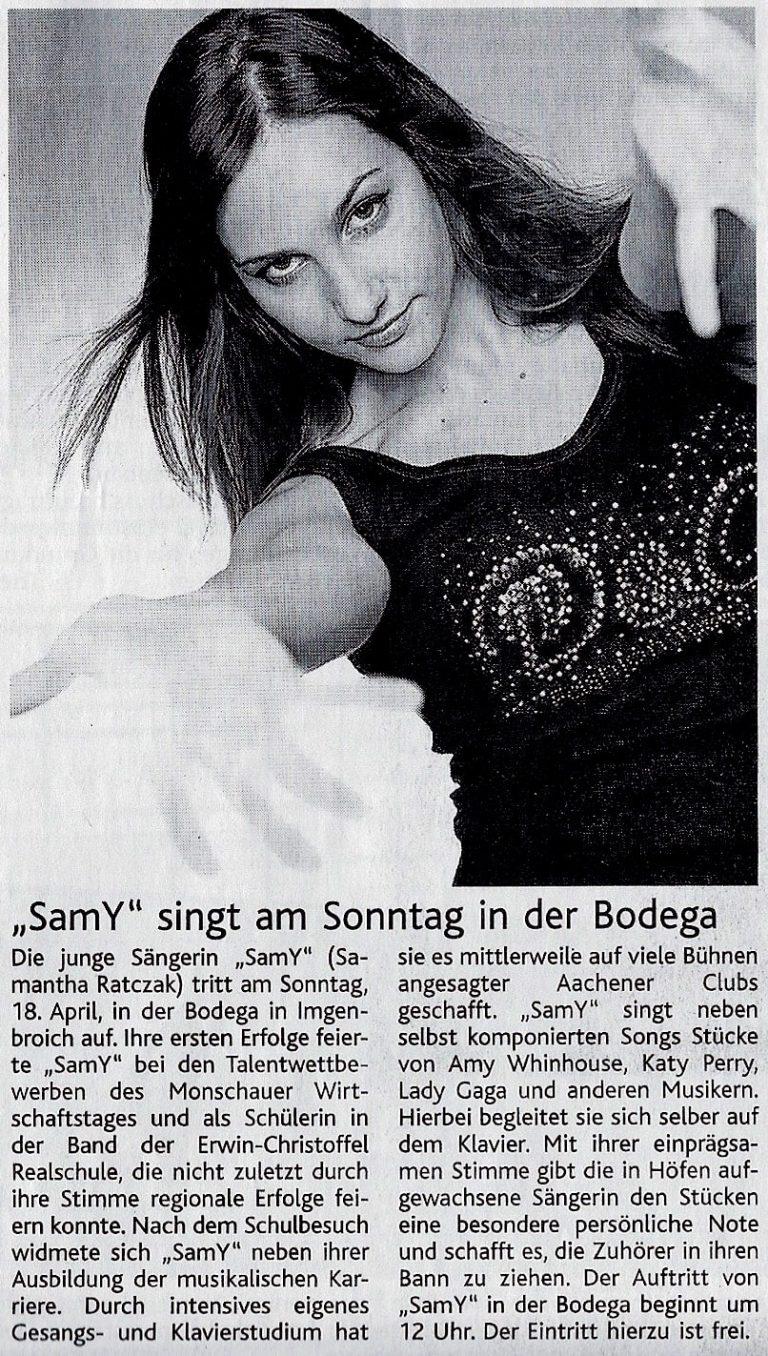 Alter Zeitungsartikel von Sam in Bodega