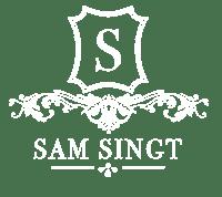Sam singt Logo, Wappen, Verschnörkelt, Weiß Transperent